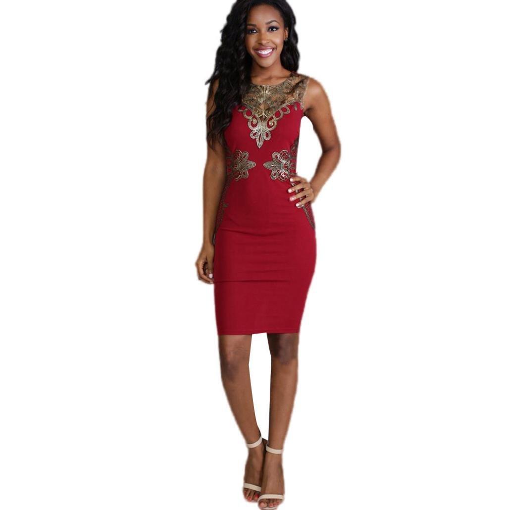 Hemlock Women Dress Formal Lace Bodycon Dress Sleeveless Evening Party Dress (S, Red)