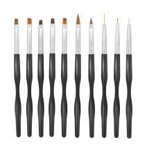 Anself 10pcs Nail Brush Set for Detailing, Striping, Blending,UV Gel Flower Drawing for Professional Nail Art Polish Tool - Black Handle