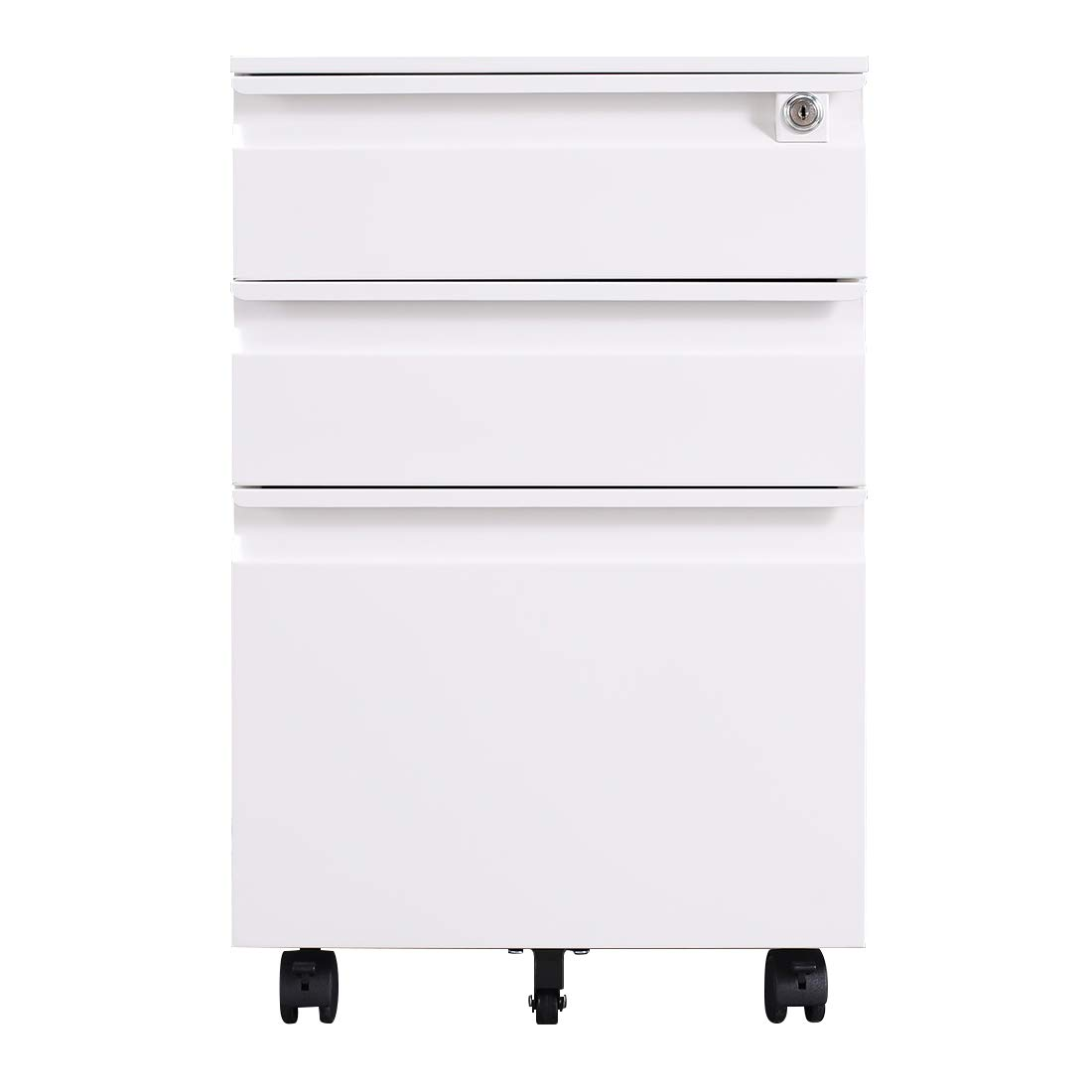 Picture of: Greatmeet 3 Drawers Mobile File Cabinets With Lock Metal Lateral Filing Cabinet For Office Letter Legal Size White