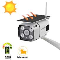 Solar Powered Security Camera, SDETER 1080P Wireless WiFi Battery Cameras, Radar Motion Detection Night Vision IP CCTV Outdoor Cam with Removable Solar Panel (Solar Outdoor Camera)