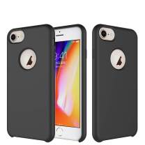 TIAMAT iPhone 8 Case/iPhone 7 Case/iPhone 6 Case, Soft Touch, Comfortable Grip, Slim Fit, Liquid Silicone Case with Microfiber Cloth Lining Cushion (Black)