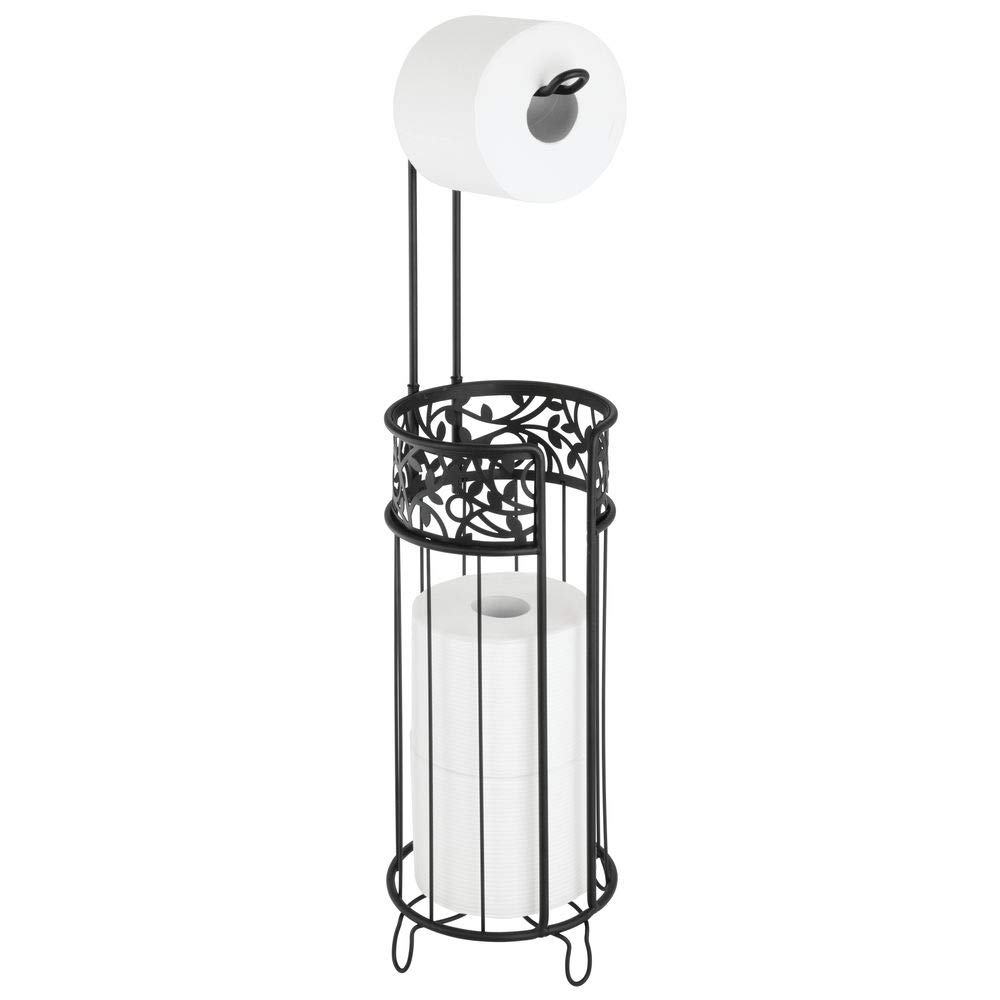 mDesign Metal Freestanding Toilet Paper Roll Holder Stand and Dispenser with Storage for 3 Rolls of Reserve Toilet Tissue - for Bathroom Storage Organizing - Holds Mega Rolls, Floral Pattern - Black