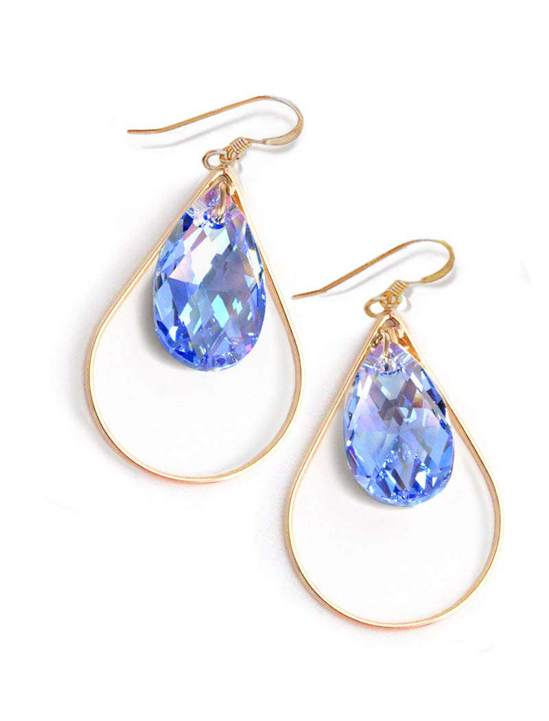 Lapis Lazuli Gemstone Dangle Earrings.Silver.Statement.Drop.Hoop.Bridal.Stone.Navy Blue.Long Earrings.Valentine.Formal.Gift.Handmade.