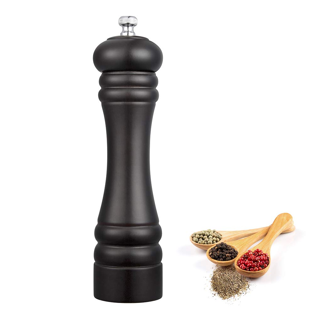 Pepper Grinder Wood, Zupora Manual Pepper Mill Grinder with Adjustable Grinder, Stainless Steel Grinding Mechanism, Adjustable Coarseness Fine to Coarse, 8 Inch Pepper Shaker with 30g Capacity