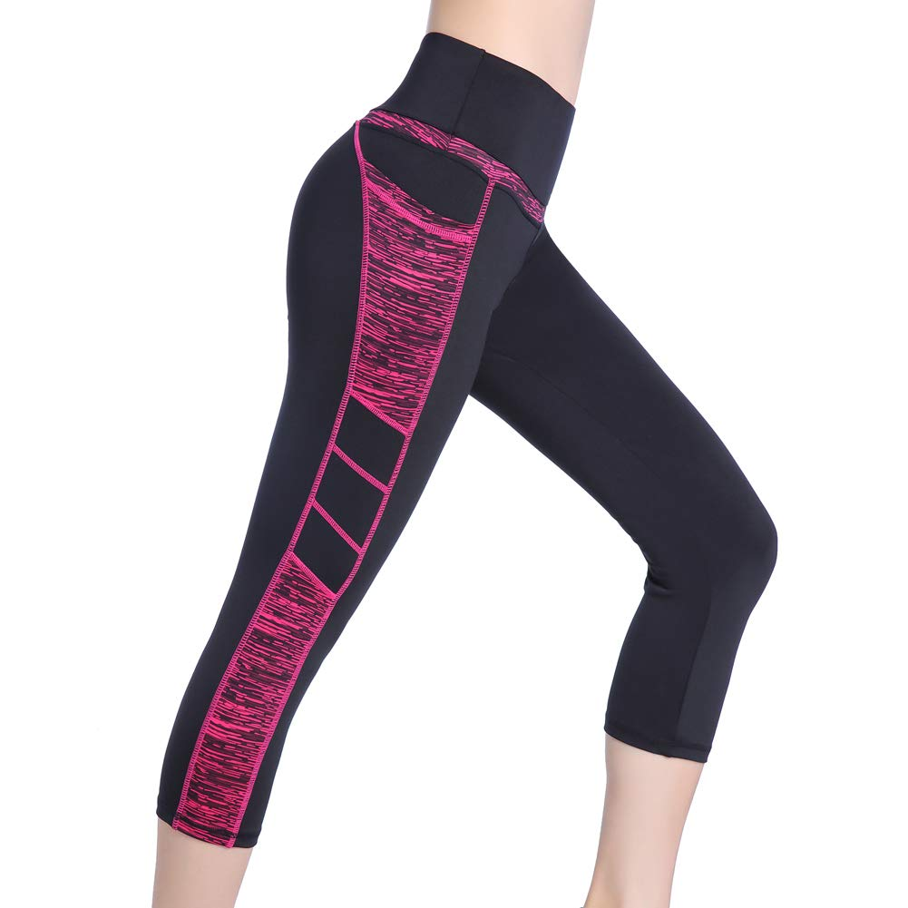 Picotee Women's Capri Yoga Pants Workout Leggings Pocket Running Exercise Active Athletic Gym Tights High Waist