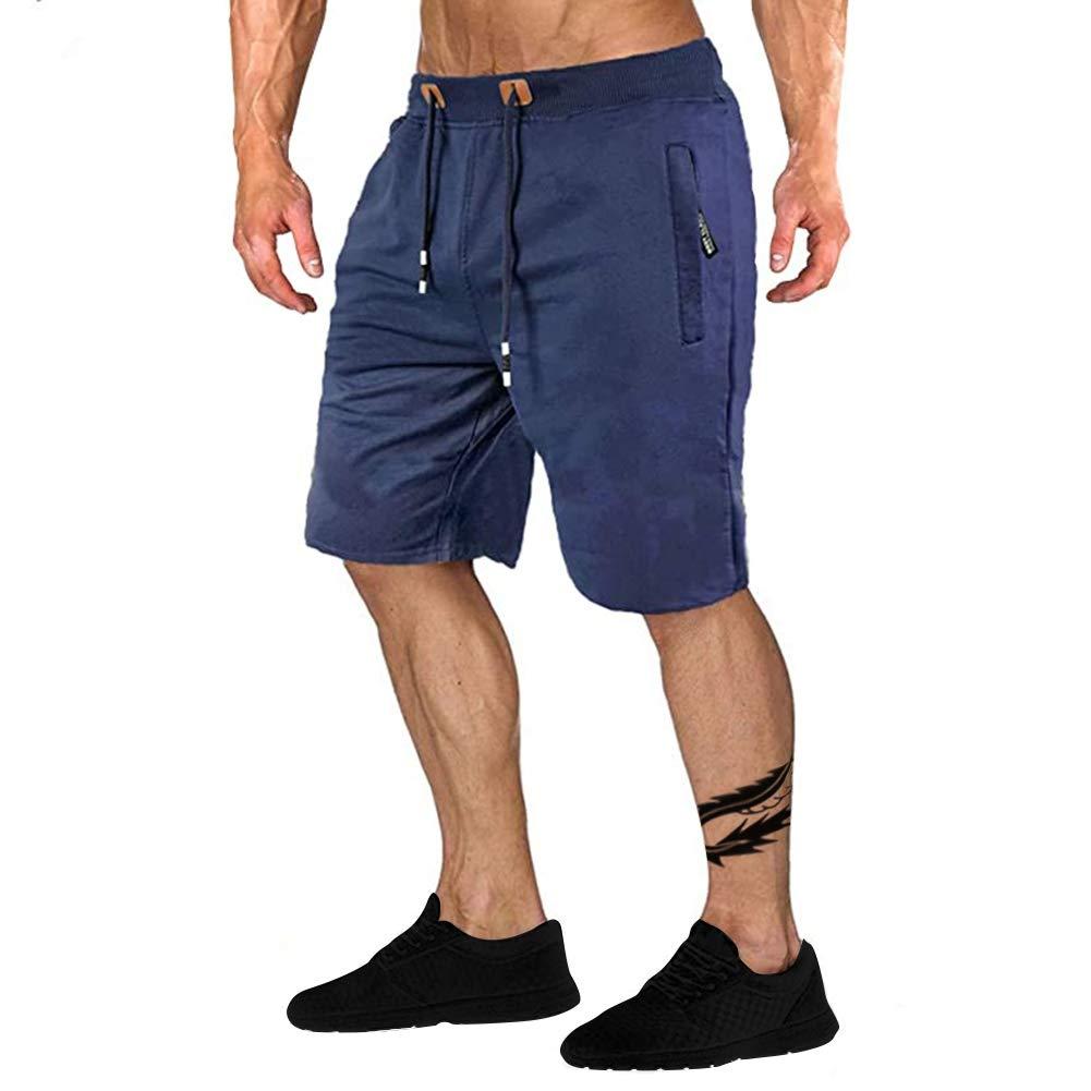 Uni Clau Men's Workout Jogger Shorts Elastic Waist Running Shorts with Zipper Pocket Gym Athletic Shorts