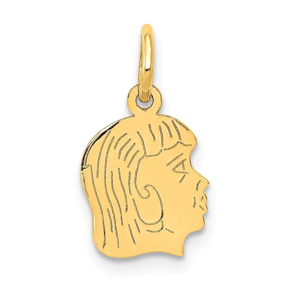 14k Yellow Gold .013 Depth Engravable Girl Head Pendant Charm Necklace Disc Right Facing Boy Pre Engraved Fine Mothers Day Jewelry For Women Gifts For Her