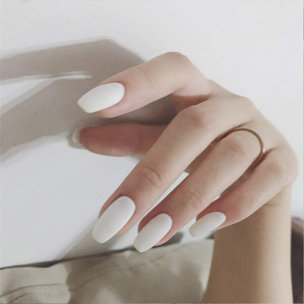 Catery Coffin Matte False Nails Press on Nails Ballerina Pure White Full Cover Medium Acrylic Fake Nails Fashion Art Clip on Nail for Women and Girls(24 Pcs)