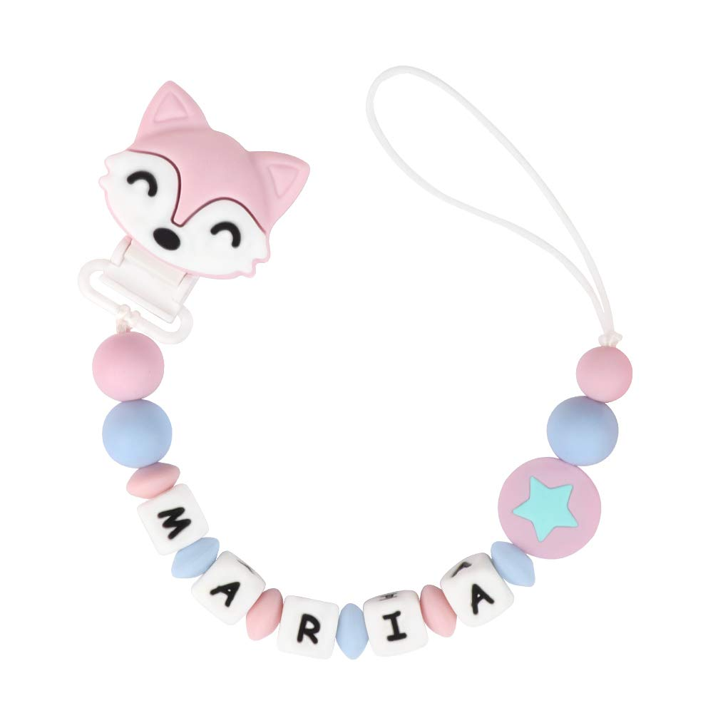 Pacifier Clip Personalized Name, MCGMITT Customized Binky Holder Teething Silicone Beads for Baby Girls (Pink)