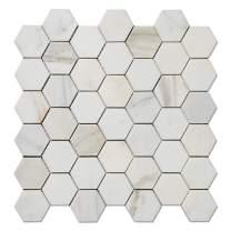 Diflart Calacatta Gold 2 inch Hexagon Marble Mosiac Tile for Kitchen Backsplash Bathroom Wall Shower Floor Polished Pack of 5