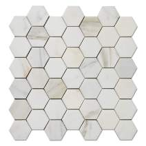 Diflart Calacatta Gold 2 inch Hexagon Marble Mosiac Tile for Kitchen Backsplash Bathroom Wall Shower Floor Polished Pack of 5