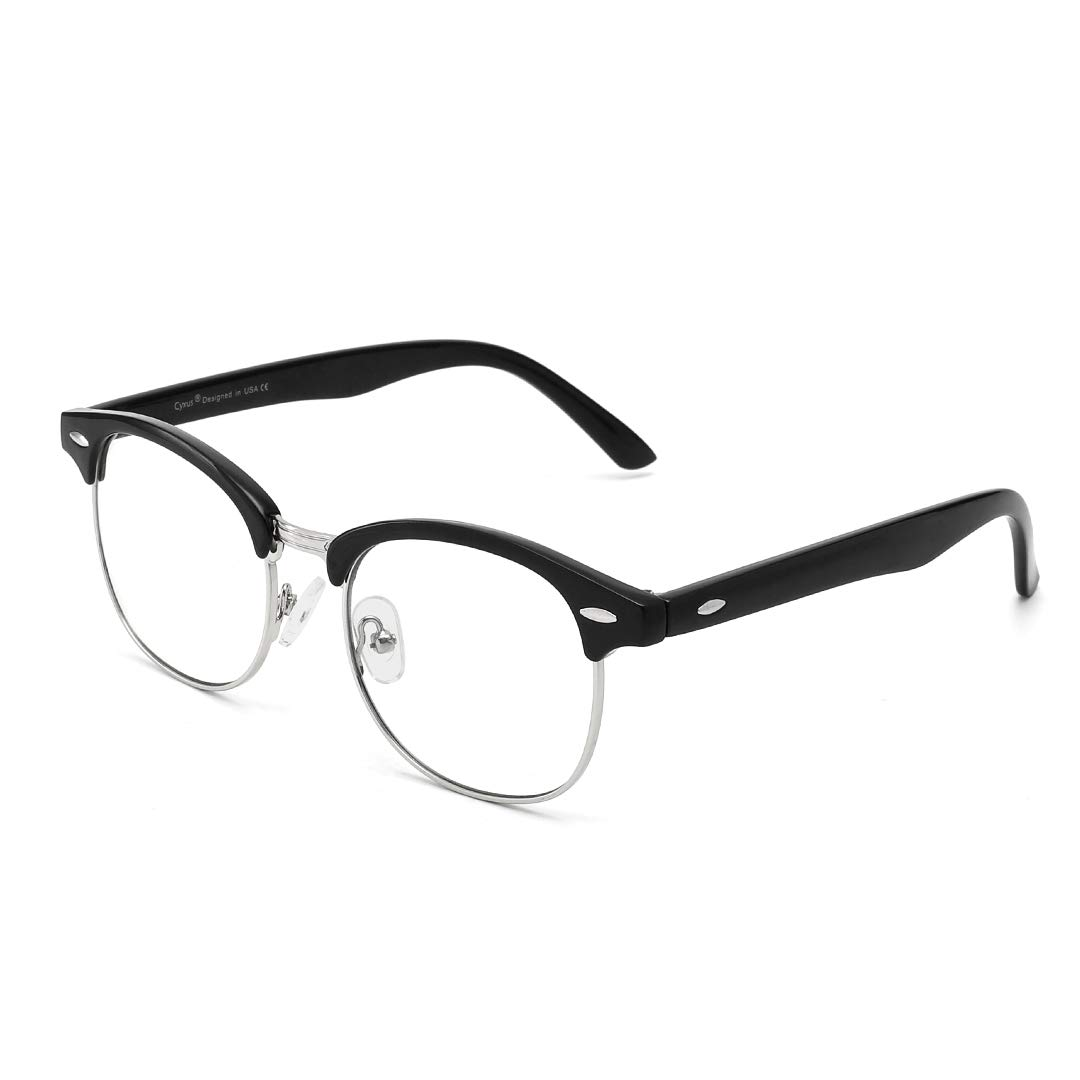 Cyxus Semi-Rimless Blue Light Reading Glasses Anti Eye Strain for Women Men Computer Eyeglasses Magnification Readers