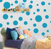 "Polka Dot Wall Decals (63) Girls Room Wall Decor Stickers, Wall Dots, Vinyl Circle Peel & Stick DIY Bedroom, Playroom, Kids Room, Baby Nursery Toddler to Teen Bedroom Decoration Gift 3""-6.5"" (Teal)"