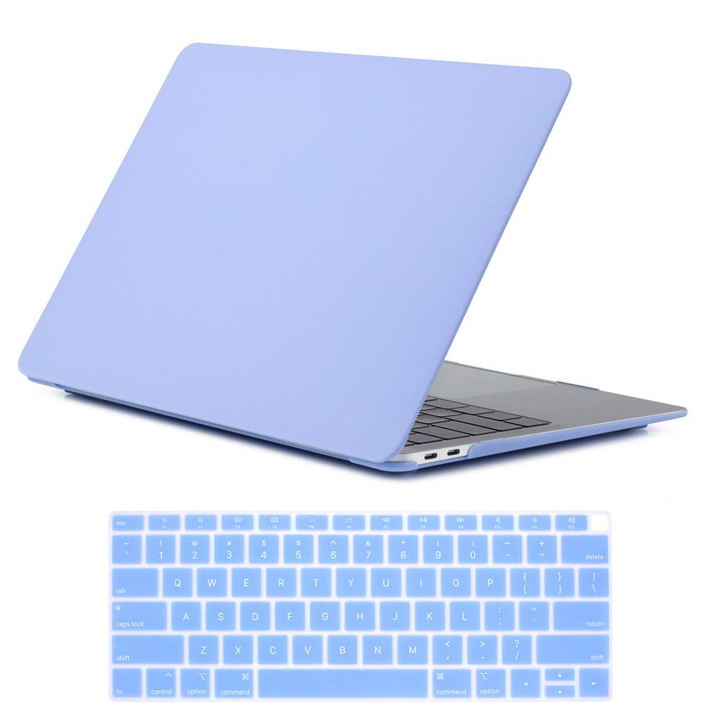 Se7enline 2018/2019 New MacBook Air 13 Inch Case Matte Frosted Plastic Hard Shell Case Cover for MacBook Air 13-Inch Retina Display with Touch ID Version A1932 with Keyboard Cover, Serenity Blue