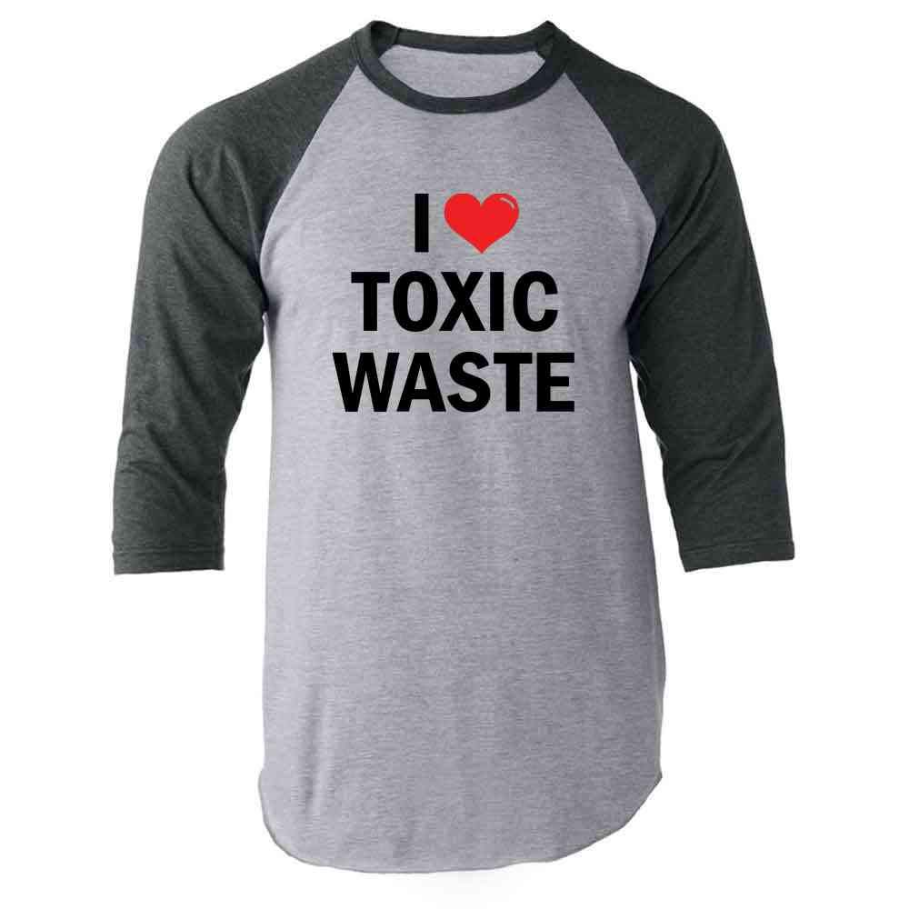 I Love Toxic Waste Retro 80s Halloween Costume Raglan Baseball Tee Shirt
