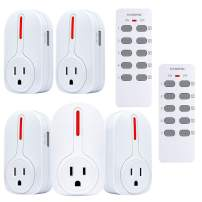Wireless Remote Control Outlet, Kasonic Smart Home Remote Control Multi Purpose Combo Set [5 Electrical Outlets + 2 Remote] Perfect for Household Appliances and Devices; ETL-Listed