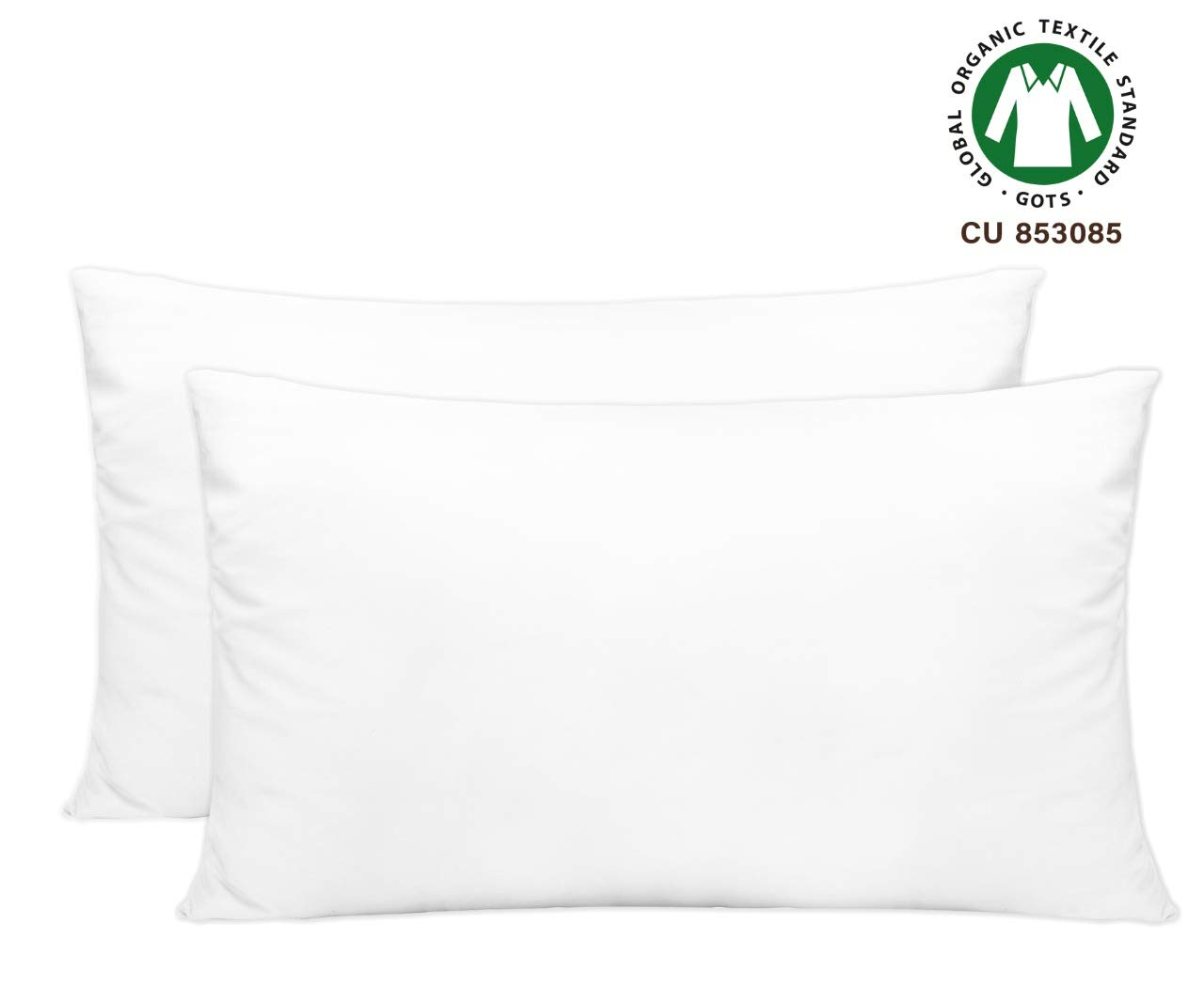Cotton Pillow Cases King - Organic Pillow Cases - White Pillow Covers King - Organic Cotton Pillow Cases - King Pillow Cases Set of 2 White - GOTS Certified - Cotton Pillow Protector (21x40), White