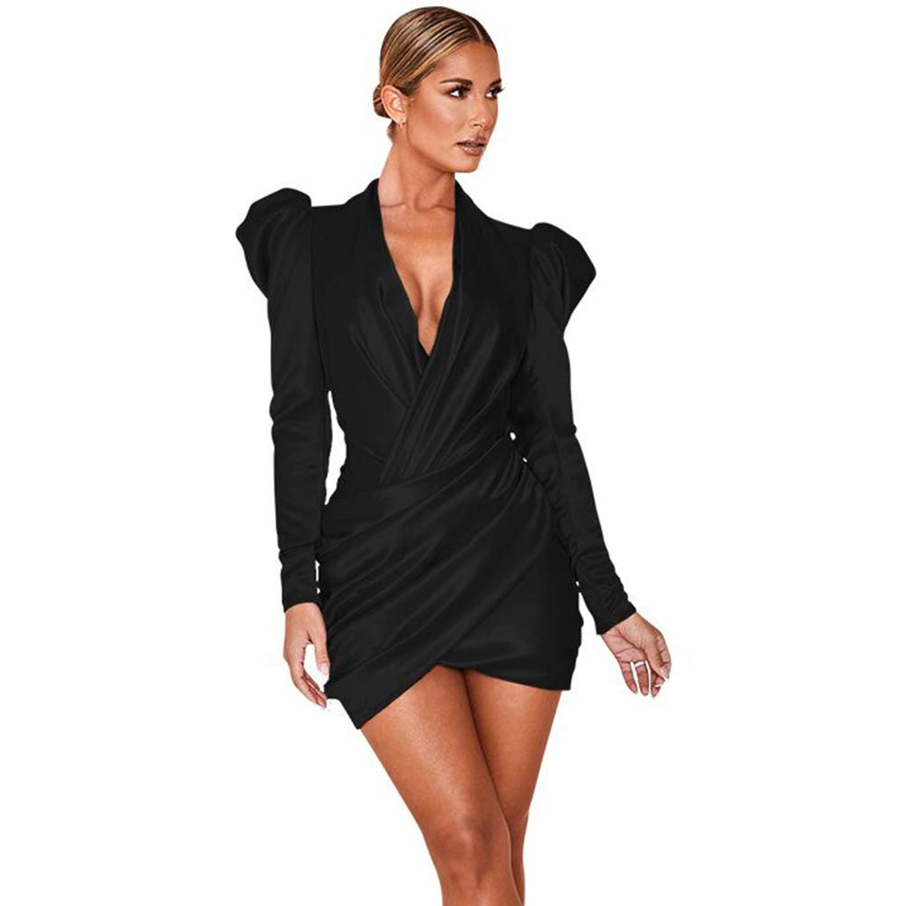DEIVE TEGER Women's Bodycon Sexy Long Sleeve Ruched Split Night Club Party Dress
