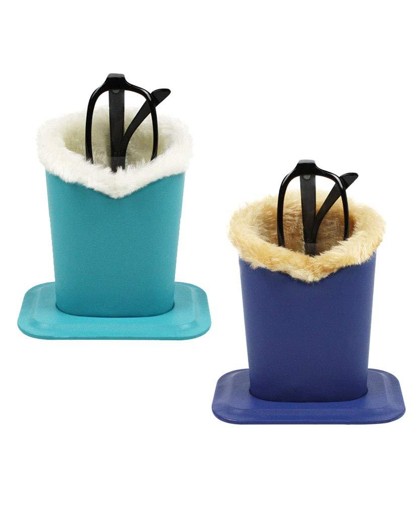 [2 PACK], JAVOedge Soft Lining Multi Color Pack Eyeglass Stands holder Case For Desks Or Nightstands