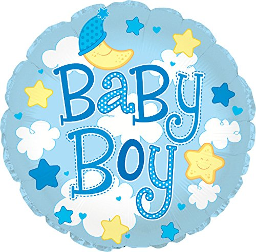 """Creative Converting CTI Mylar Balloons, Baby Boy Clouds, 24"""", Blue pack of 5"""