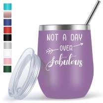Wine Gifts for Women Friends Female Mom Grandma Funny Unique Birthday Gifts for Her - 12oz Wine Tumbler with Funny Sayings Not A Day Over Fabulous - Wine Accessories Gift Boxes - Purple