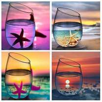 Diamond Painting Kits for Adults Kids,4 Pack 5D DIY Cup Diamond Art Accessories with Round Full Drill for Home Wall Decor - 11.8×11.8Inches