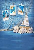 Yeele Nautical Backdrop 5x7ft Navy Blue Wood Floor Shell Sailboat Fishing Net Photography Background Kids Baby Bride Artistic Portrait Wedding Personal Portrait Photoshoot Props