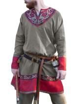 Bbalizko Mens Medieval Tunic Printed V Neck Viking Pirate Renaissance LARP Costume Shirt