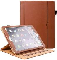 ZoneFoker iPad 6th/5th Generation 9.7 inch 2018/2017 Leather Case,Auto Sleep/Wake 360 Protection Multi-Angle Viewing Folio Stand Cases with Pencil Holder and Card Pocket - Brown