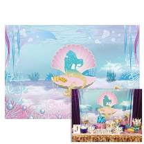 Funnytree 7X5ft Under The Sea Little Mermaid Backdrop Girl Princess Birthday Party Photography Background Ocean Glare Glitter Pearl Shell Baby Shower Photo Booth Studio Decorations Cake Table Banner