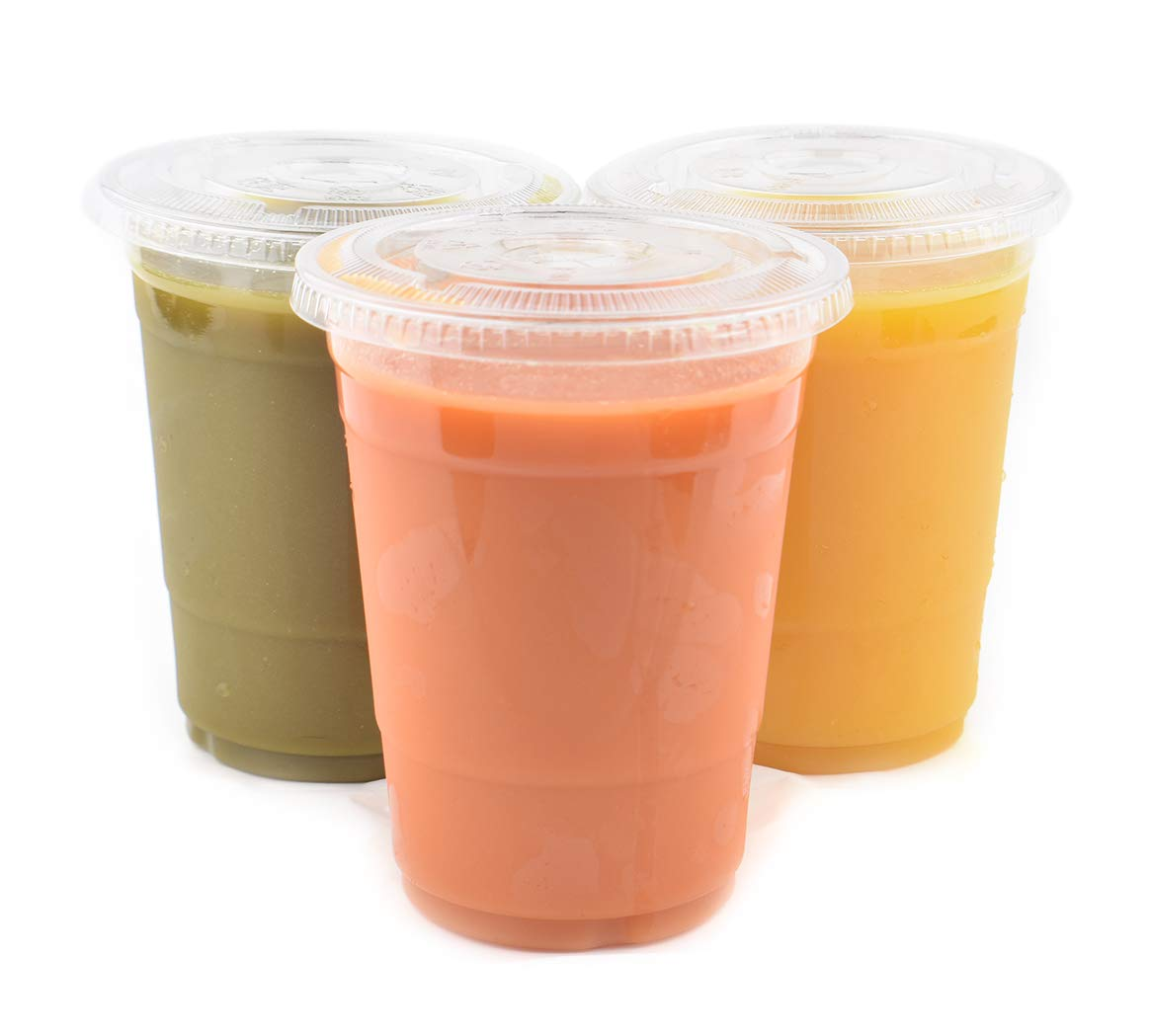 [1000 SETS] Plastic Disposable Cups with Lids - Premium 16 oz (ounces) Crystal Clear PET for Cold Drinks Iced Coffee Tea Juices Smoothies Slush Soda Cocktails Beer Kids Safe (16oz Cups + Flat Lids)
