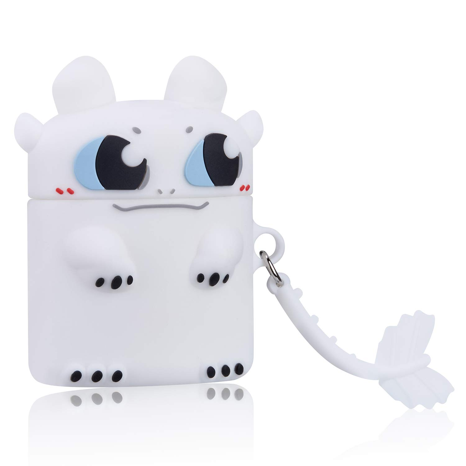 Gift-Hero White Toothless Cartoon Case for Airpods, Cute Funny Animal Pattern Design for Girls Boys Kids, Accessories Carabiner Protective Fun Fashion Character Skin Silicone Cover for Air pods 2/1