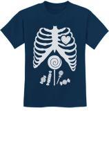 Children Skeleton Candy Rib-cage X-Ray Halloween Funny Kids T-Shirt