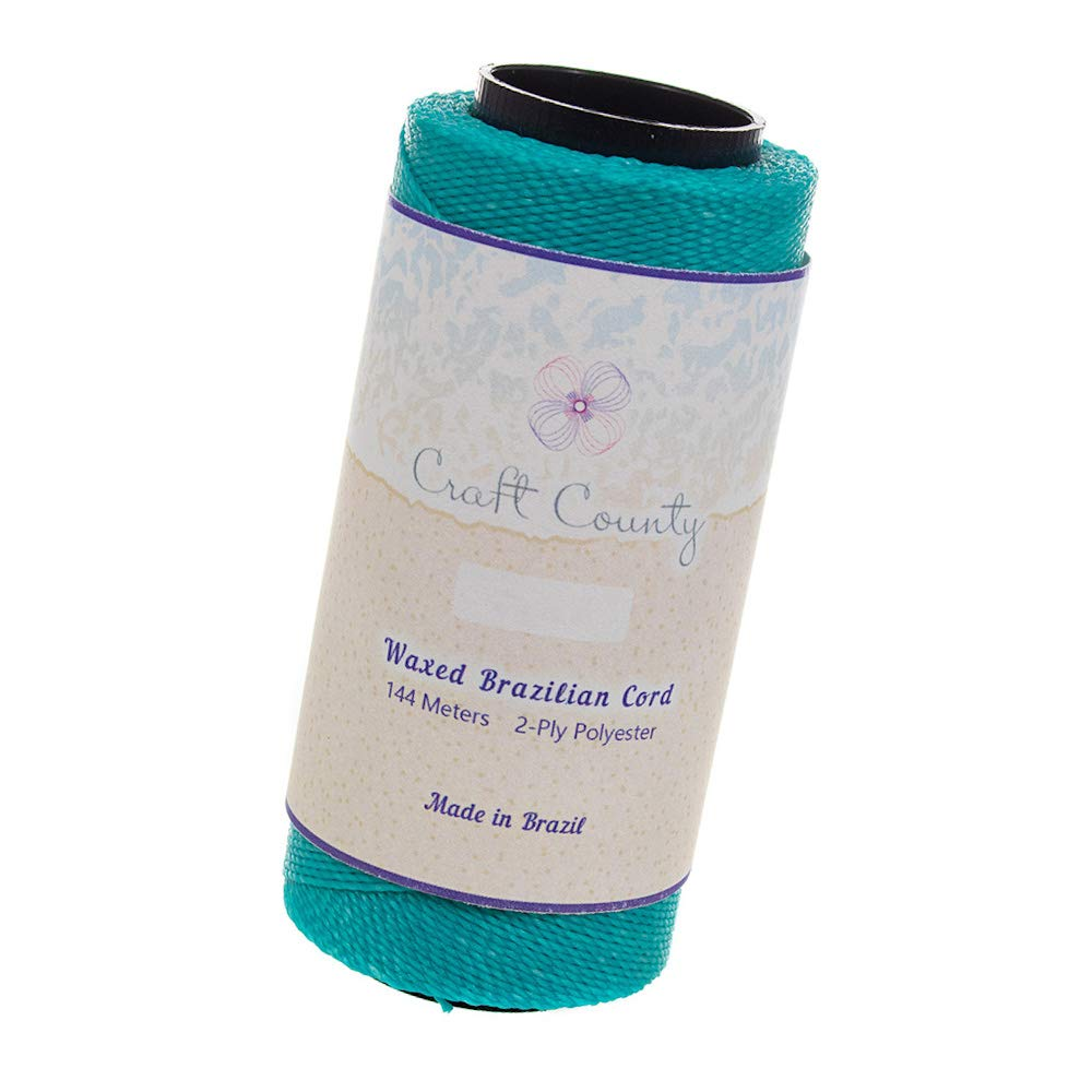 144 Meters of Waxed 2-Ply Polyester Brazilian Cord – for Jewelry Making, Macramé, Beading, Home Décor, and General Crafting (Aqua)