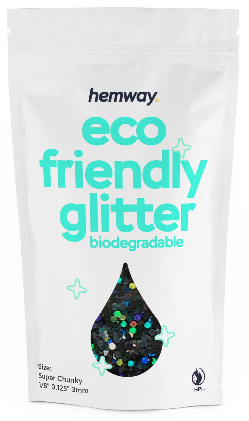 """Hemway Eco Friendly Biodegradable Glitter 100g / 3.5oz Bio Cosmetic Safe Sparkle Vegan For Face, Eyeshadow, Body, Hair, Nail And Festival Makeup, Craft - 1/8"""" 0.125"""" 3mm - Black Holographic"""