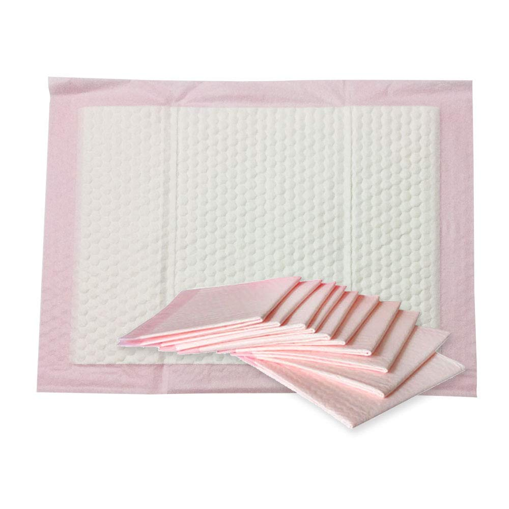 Nihao Honey Baby Disposable Changing Pad, 30Pack Soft Waterproof Mat, Portable Diaper Changing Table & Mat, Leak-Proof Breathable Underpads Mattress Play Pad Sheet Protector(Pink, 18x24inch)