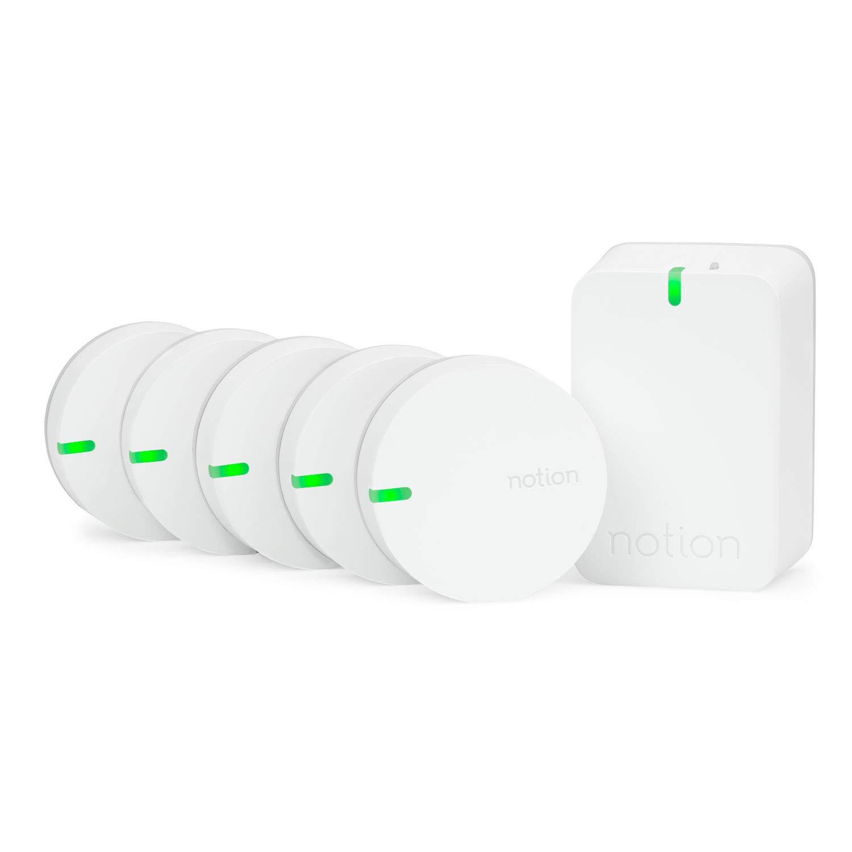 Notion Smart Home System (Gen 3): Monitor and Receive Alerts on Doors, Windows, Water Leaks, Sounding Alarms. (1 Bridge + 5 Wireless Sensors)