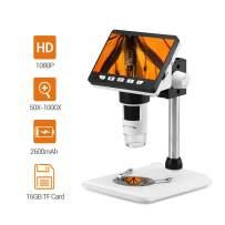 Seesii 4.3 inch LCD Digital Microscope, Portable 50X-1000X Magnification Zoom Full HD 1080P 2MP Microscope 8 LED Adjustable LED Light Video USB Microscope Camera