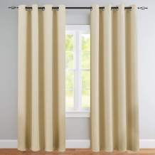 Vangao Room Darkening Curtain 84 inches Length Window Treatment Blackout Drape for Bedroom, Grommet Top, 52Wx84L-inch, 1 Panel, Beige