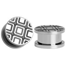TBOSEN 2 Pcs Stainless Steel Ear Plugs White Grid Gauges Stretching Screw Fit Tunnels Expander Piercing Jewelry