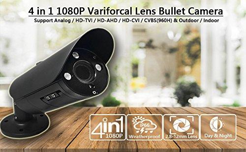 101AV 2.1Megapixel CMOS Image Sensor in/Outdoor Security Bullet Camera 1080P True Full-HD 4 in 1(TVI, AHD, CVI, CVBS) 2.8-12mm Lens DWDR OSD Camera (Black)