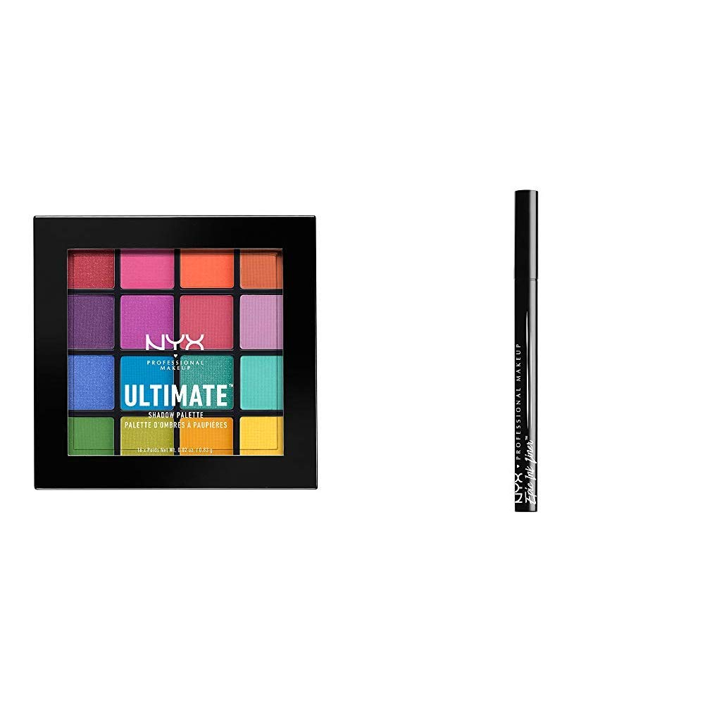 NYX PROFESSIONAL MAKEUP Make Up Ultimate Eyeshadow Palette Brights Bundle with Epic Ink  Eyeliner (2 Count), Combo