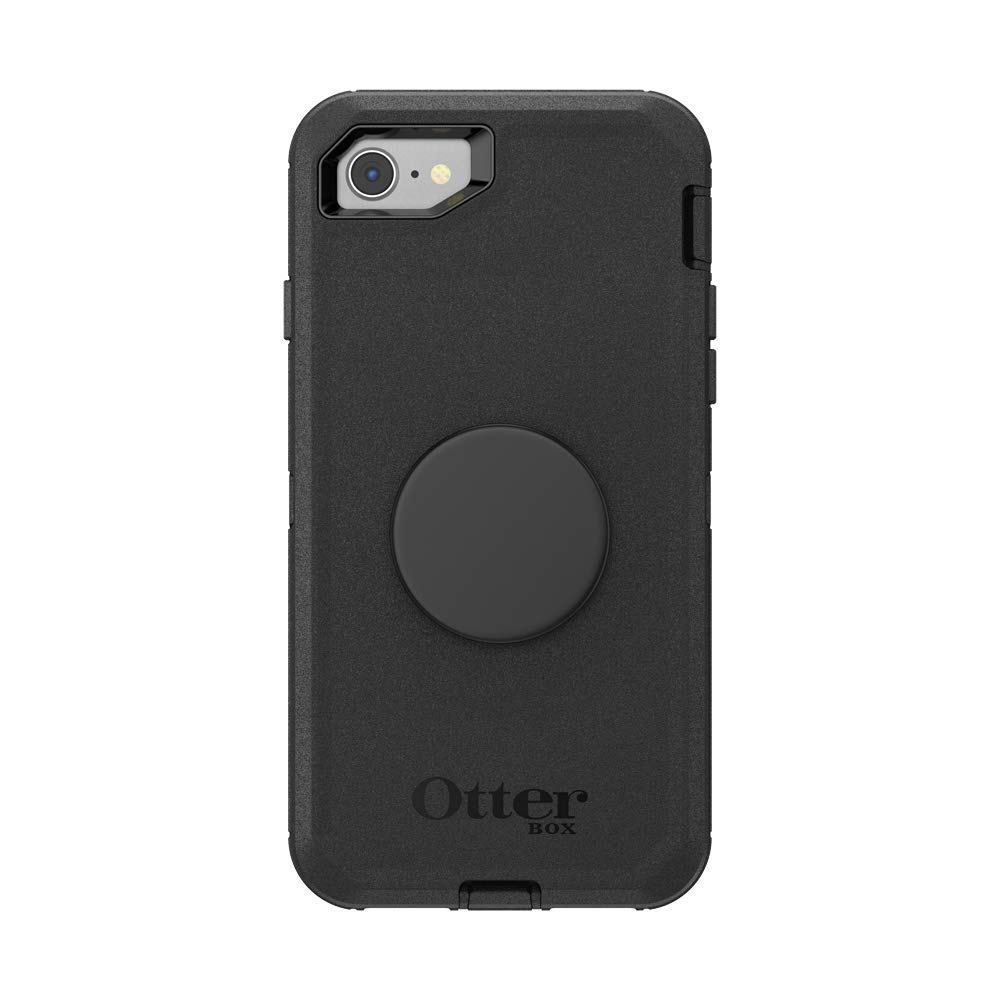 Otter + Pop for iPhone SE, 7 and 8: OtterBox Defender Series Case with PopSockets Swappable PopTop - Black and Aluminum Black