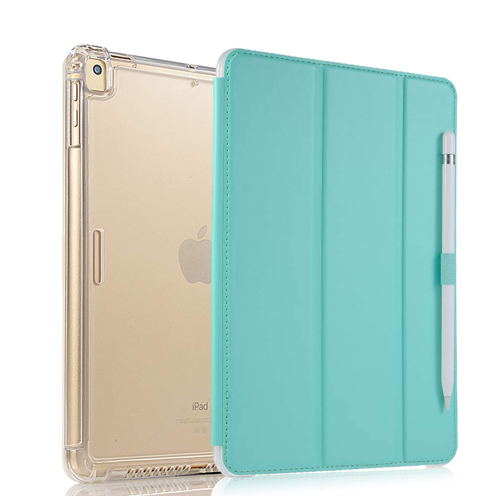 Valkit iPad 10.2 Case 2019 iPad 7th Generation Case - Smart Trifold Stand Protective Heavy Duty Rugged Impact Resistant Armor Cover with Auto Sleep/Wake+Pencil Holder+Removable Front Cover, Mint Green