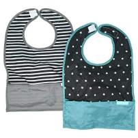 Nylon Travel Baby Bibs, Waterproof Bibs for Babies, Folds Up for Easy Clean-up, Clips to Stroller or Diaper Bag, Catches Mess with Bottom Pocket, 2-Pack Feeding Bibs, Stars & Stripes by Bazzle Baby