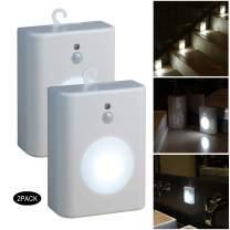 WRalwaysLX Motion Sensor LED Nightlight, Battery-Powered Cool Light,Step Light for Stair,Hall,Closet,Bathroom,Kitchen,Cabinet, Stick-Anywhere,0.5W LED, 2PACK