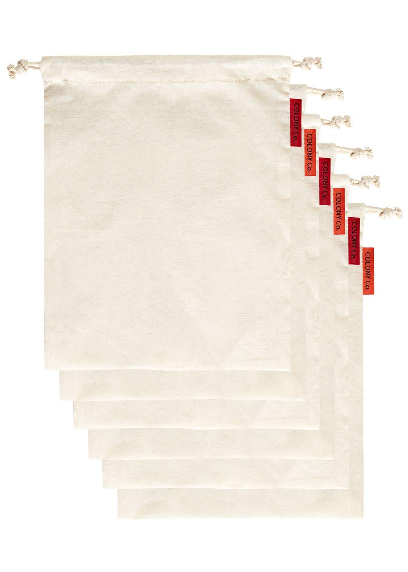 Colony Co. Reusable Bulk Food Bags, Set of 6 - Size Small, Certified Organic Cotton, Tare Weight Label, Washable, Double-Drawstring Design, Packaging is Plastic-Free and Recyclable, Zero Waste