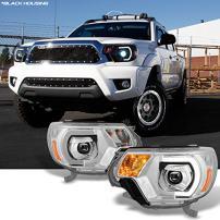 For [TRD PRO U-Bar] [Mono-Eye] 2012 2013 2014 2015 Toyota Tacoma LED DRL Projector Headlights Pair Sets
