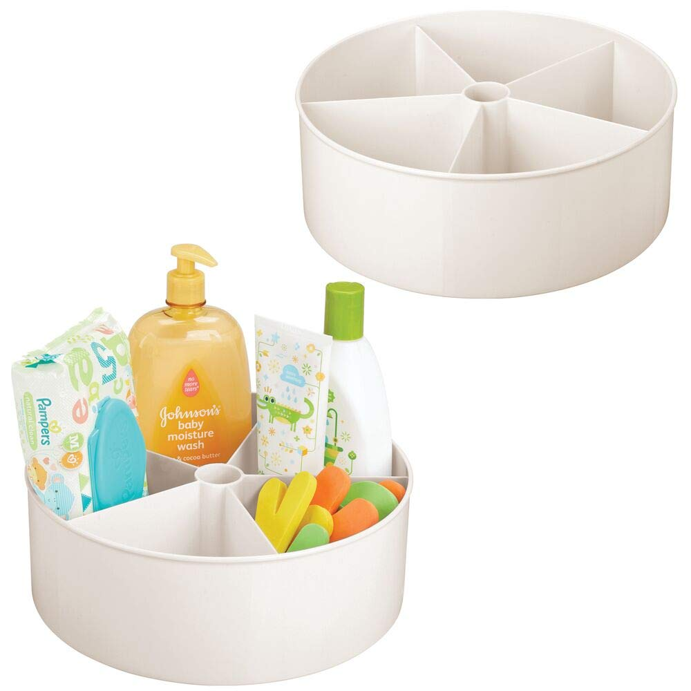 mDesign Deep Plastic Lazy Susan Turntable Storage Tray - Divided Spinning Organizer for Nursery/Kid's Room - Store Lotions, Wipes, Diapers, Baby Shampoo - 5 Sections - 2 Pack Cream/Beige