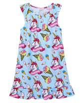 JESKIDS Girls Nightgowns Unicorn Flamingo Flutter Sleeve Pajamas Dress Blue Unicorn 4-5 Years